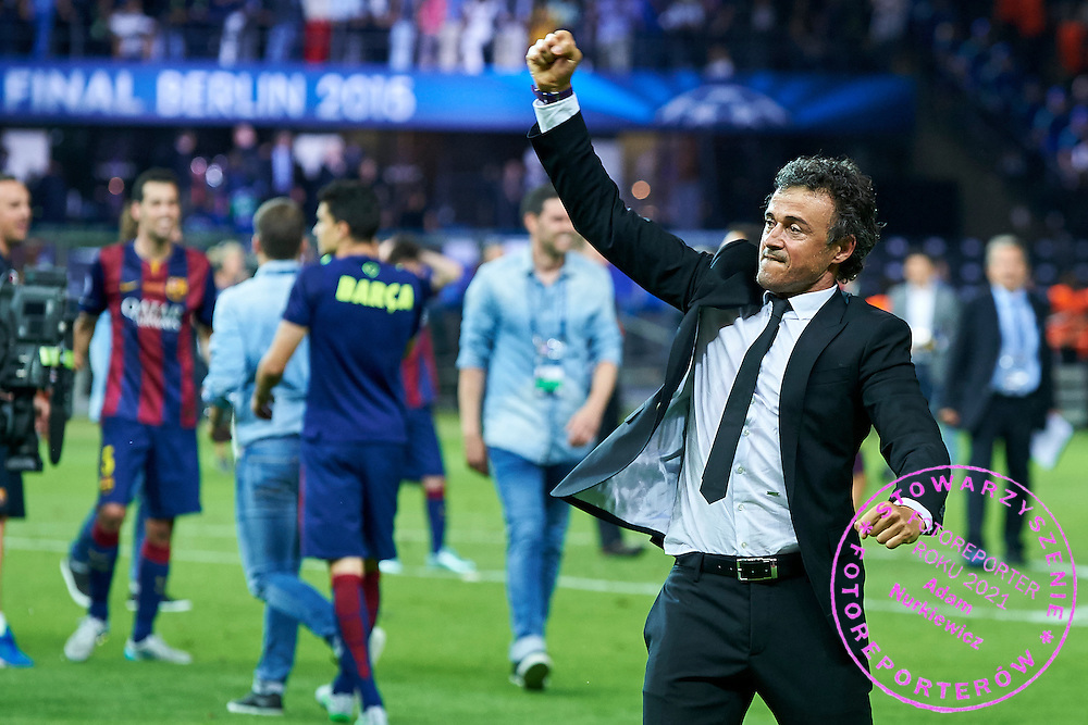 Luis Enrique trainer coach of Barcelona celebrates after victory during the 2014/15 UEFA Champions League Final between Juventus and FC Barcelona at Olympiastadion on June 6, 2015 in Berlin, Germany.<br /> Germany, Berlin, June 6, 2015<br /> <br /> Picture also available in RAW (NEF) or TIFF format on special request.<br /> <br /> For editorial use only. Any commercial or promotional use requires permission.<br /> <br /> Adam Nurkiewicz declares that he has no rights to the image of people at the photographs of his authorship.<br /> <br /> Mandatory credit:<br /> Photo by &copy; Adam Nurkiewicz / Mediasport