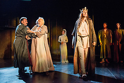 © Licensed to London News Pictures. 16/10/2013. EMBARGOED until 19.00 hrs 17/10/2013. The Royal Shakespeare Company presents Richard II, starring David Tennant as Richard.  Richard II is the first production in a new cycle of Shakespeare's History plays, directed by RSC Artistic Director Gregory Doran, to be performed over the coming seasons. Picture features Sean Chapman (Northumberland), Michael Pennington (John of Gaunt) Gracy Goldman (Lady in Wating_upstage) & David Tennant (Richard). Photo credit: Tony Nandi/LNP.
