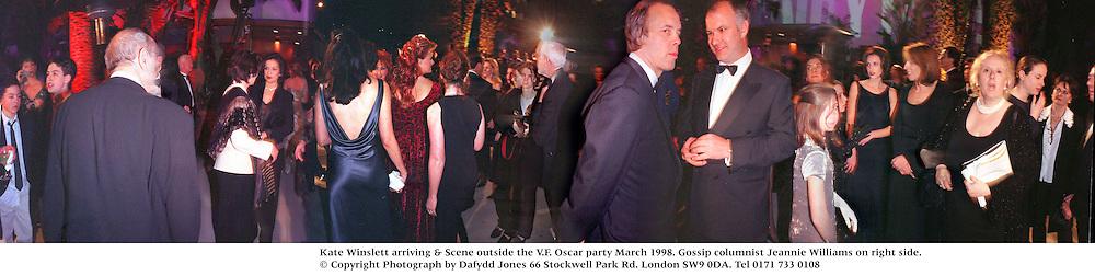Kate Winslett arriving & Scene outside the V.F. Oscar party March 1998. Gossip columnist Jeannie Williams on right side.<br /> <br /> © Copyright Photograph by Dafydd Jones<br /> 66 Stockwell Park Rd. London SW9 0DA<br /> Tel 0171 733 0108