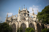 A view of the east facade and the flying buttresses of the Cathedral of Notre Dame in Paris, France.