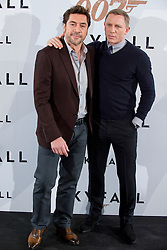 (L to R) Actors Javier Bardem and Daniel Craig during last nights Madrid premiere of the latest Bond movie 'Skyfall', Spain, Madrid, October 28, 2012.  Photo by Oscar Gonzalez / i-Images...SPAIN OUT
