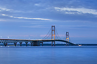 Lights on Mackinac Bridge at twilight, seen from Mackinaw City Michigan