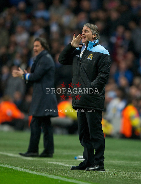 MANCHESTER, ENGLAND - Wednesday, February 22, 2012: Manchester City's manager Roberto Mancini during the UEFA Europa League Round of 32 2nd Leg match against FC Porto at City of Manchester Stadium. (Pic by David Rawcliffe/Propaganda)