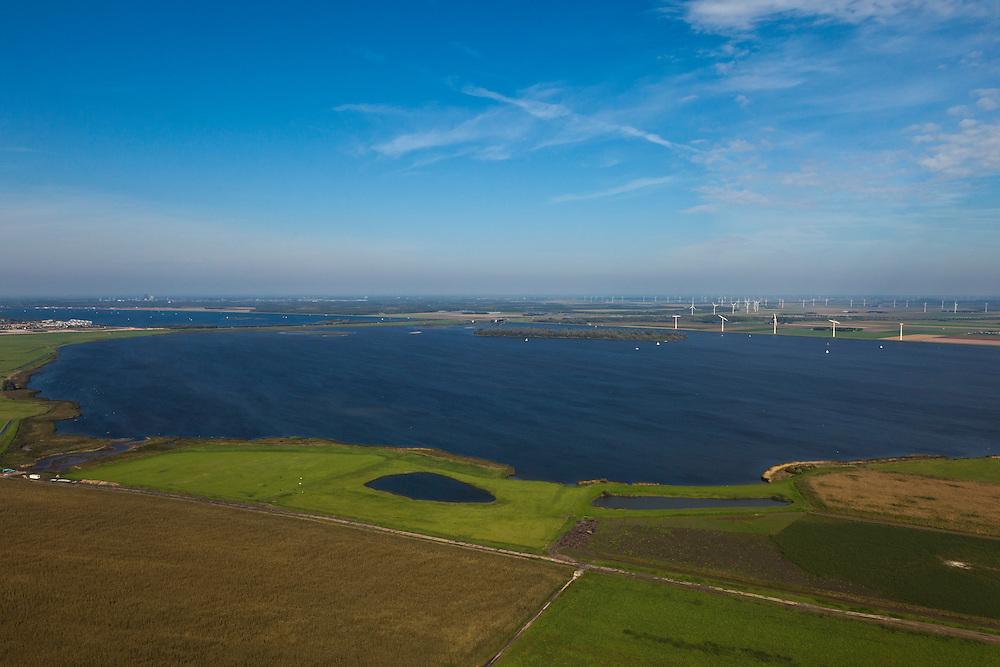 Nederland, Utrecht, Gemeente Eemnes, 03-10-2010; het Eemmeer, gezien naar Flevoland (met windmolens). Links de verbinding naar de nieuwe polder, de A27 met Stichtse brug..luchtfoto (toeslag), aerial photo (additional fee required).foto/photo Siebe Swart