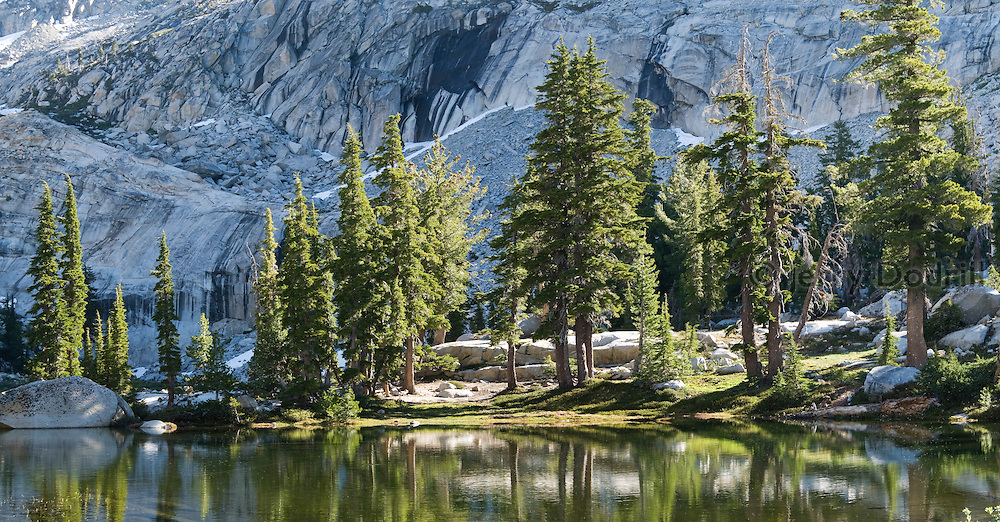 Lyons Lake is below Pyramid Peak in California's Sierra Nevada Mountains west of Lake Tahoe and is within the Desolation Wilderness area.
