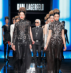 Karl Lagerfeld walks the runway for his Fall-Winter 2010/2011 ready-to-wear collection show held at the Jardin des Tiileries in Paris, France on March 7, 2010. Photo by Alain Gil-Gonzalez/ABACAPRESS.COM