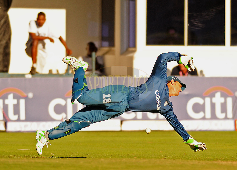PORT ELIZABETH, SOUTH AFRICA - 2 May 2009. Gilchrist dives to try stop a ball during the  IPL Season 2 match between the Deccan chargers vs Rajasthan Royals held at St Georges Park in Port Elizabeth , South Africa.