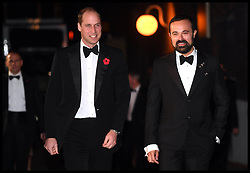 Image ©Licensed to i-Images Picture Agency. 13/11/2016. London, United Kingdom. The London Evening Standard Theatre Awards. <br /> <br /> Prince William, Duke of Cambridge and Evgeny Lebedev attend The London Evening Standard Theatre Awards at The Old Vic Theatre on November 13, 2016 in London, England.<br /> <br /> Picture by  i-Images / Pool