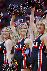11 February 2017:  Redline Express dancer during a College MVC (Missouri Valley conference) mens basketball game between the Bradley Braves and Illinois State Redbirds in  Redbird Arena, Normal IL