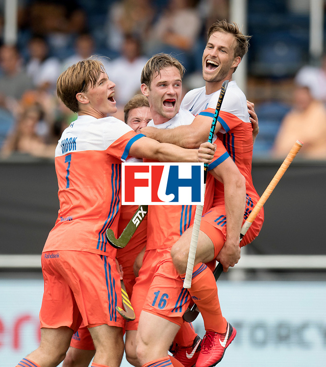 BREDA - Rabobank Hockey Champions Trophy<br /> The Netherlands - Belgium<br /> Photo: Mirco Pruyser, Jeroen Hertzberger, Roel Bovendeert and Jorrit Croon celebrate.<br /> COPYRIGHT WORLDSPORTPICS FRANK UIJLENBROEK