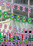 Flags at Manchester Piccadilly station during the Manchester Olympic Parade in Manchester, United Kingdom on 17 October 2016. Photo by Richard Holmes.