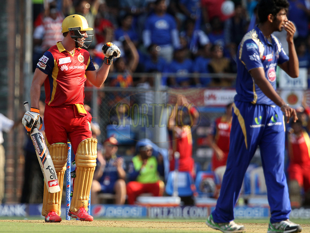 Royal Challengers Bangalore player AB De Villiers celebrates after scoring a hundred during match 46 of the Pepsi IPL 2015 (Indian Premier League) between The Mumbai Indians and The Royal Challengers Bangalore held at the Wankhede Stadium in Mumbai, India on the 10th May 2015.<br /> <br /> Photo by:  Vipin Pawar / SPORTZPICS / IPL