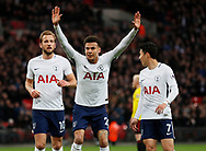 Dele Alli of Tottenham celebrates scoring the first goal during the premier league match at Wembley Stadium, London. Picture date 30th April 2018. Picture credit should read: David Klein/Sportimage