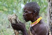 Africa, Tanzania, Lake Eyasi, Hadza tribe. A small tribe of hunter gatherers AKA Hadzabe Tribe male tribesman