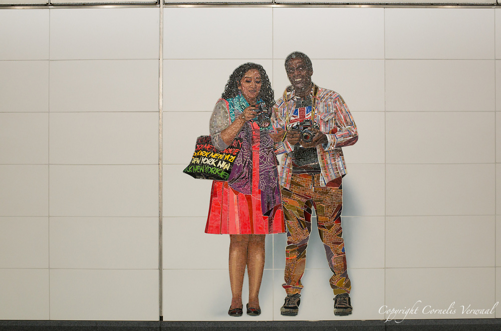 "One of the mosaïcs ""Perfect Strangers"" by artist and photographer Vik Muniz at the 72nd street station of the new Second Avenue subway line in New York City."