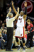 Feb 4, 2010; Cleveland, OH, USA; Miami Heat guard Dwyane Wade (3) argues a call during the third quarter against the Cleveland Cavaliers at Quicken Loans Arena. The Cavaliers beat the Heat 102-86. Mandatory Credit: Jason Miller-US PRESSWIRE