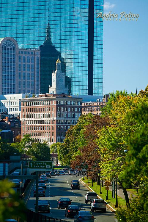 Traffic heading into Copley Square, Back Bay, Boston