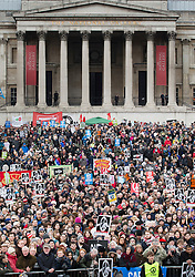 © Licensed to London News Pictures. 27/02/2016. London, UK.  Crowds gather for a CND rally in Trafalgar Square. Thousands of protestors calling for the Trident nuclear deterrent to be scrapped have marched from Hyde Park to hear speeches from senior politicians and other campaigners. Photo credit: Peter Macdiarmid/LNP