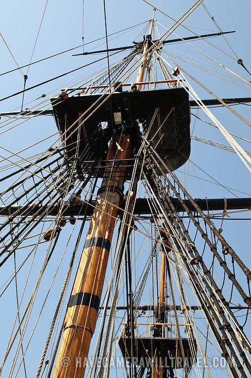 Mast and rigging detail of a full-size replica of Captain James Cook's HMS Endeavour ship on display at the Australian National Maritime Museum at Darling Harbour in Sydney