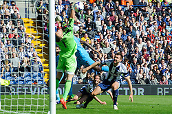 Jonas Olsson (SWE) of West Brom (at back) scores an own goal past Ben Foster (ENG) of West Brom to bring the score to 3-1 - Photo mandatory by-line: Rogan Thomson/JMP - 07966 386802 - 12/04/2014 - SPORT - FOOTBALL - The Hawthorns Stadium - West Bromwich Albion v Tottenham Hotspur - Barclays Premier League.