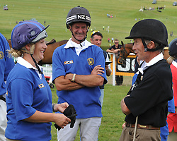 Image ©Licensed to i-Images Picture Agency. 05/07/2014. Barbury, United Kingdom. Day 3. (L-R) Zara Phillips Sir Mark Todd and John Francome during JCB Challenge<br /> . Picture by i-Images