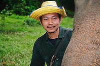 Elephant handler, Kanchanaburi Province, Thailand