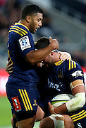 Highlanders Tom Franklin, right, celebrates his try against the Waratahs with Lima Sopoaga  in the Super 15 rugby match, Forsyth Barr Stadium, Dunedin, New Zealand, Saturday, March 14, 2015. Credit: SNPA/Dianne Manson