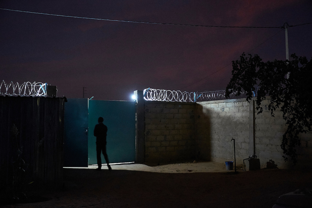Inside the Caritas headquarters at dusk in Diffa, Niger on February 13, 2016.