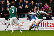Hibernian FC Forward Jason Cummings on the attack during the Scottish League Cup semi-final match between Hibernian and St Johnstone at Tynecastle Stadium, Gorgie, Scotland on 30 January 2016. Photo by Craig McAllister.