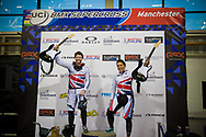 #12 (READE Shanaze) GBR and  #65 (PHILLIPS Liam) GBR double up the win for Team GB at the UCI BMX Supercross World Cup in Manchester, UK