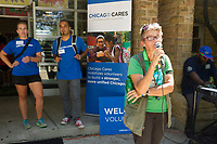 "Chicago Cares and My Block, My Hood, My City co-hosted a clean-up day in Jackson Park Saturday afternoon, August 21st, 2017 to help beautify the park. This was part of a larger neighborhood clean-up project on the south side of Chicago where volunteers helped to clean-up various neighborhood spaces.<br /> <br /> 8566 – President of the Jackson Park Advisory Council, Louise Mcurry addresses the volunteers at the end of the event.<br /> <br /> Please 'Like' ""Spencer Bibbs Photography"" on Facebook.<br /> <br /> Please leave a review for Spencer Bibbs Photography on Yelp.<br /> <br /> All rights to this photo are owned by Spencer Bibbs of Spencer Bibbs Photography and may only be used in any way shape or form, whole or in part with written permission by the owner of the photo, Spencer Bibbs.<br /> <br /> For all of your photography needs, please contact Spencer Bibbs at 773-895-4744. I can also be reached in the following ways:<br /> <br /> Website – www.spbdigitalconcepts.photoshelter.com<br /> <br /> Text - Text ""Spencer Bibbs"" to 72727<br /> <br /> Email – spencerbibbsphotography@yahoo.com"