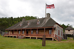 Exterior of the Great Hall with North West Company flag, Grand Portage National Monument, Grand Portage, Minnesota, United States of America