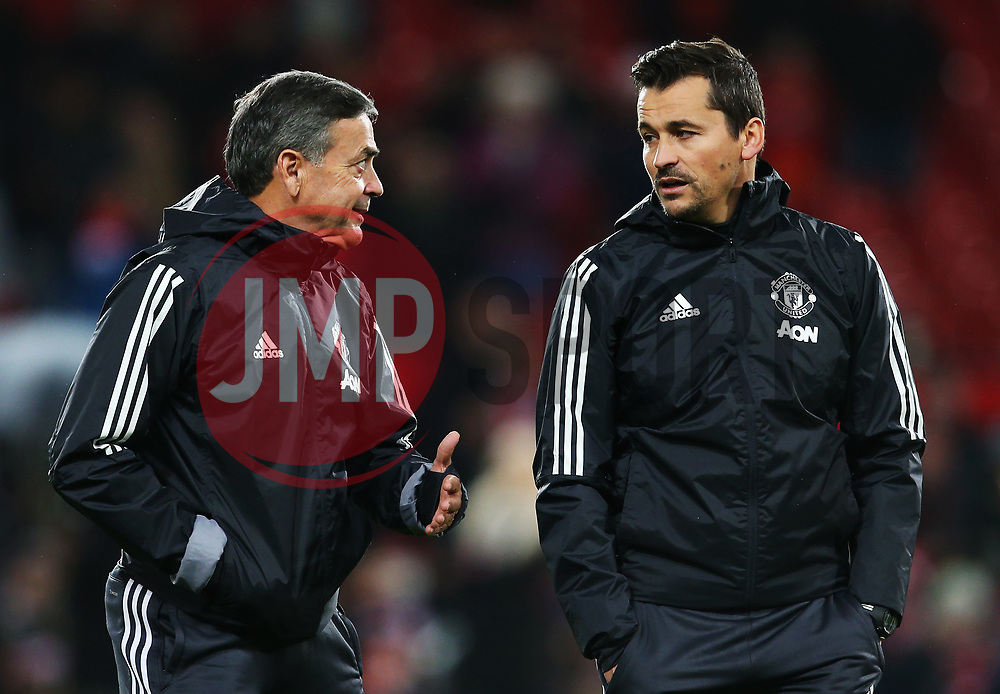 Manchester United coaches Ricardo Formosinho talks with Rui Faria - Mandatory by-line: Matt McNulty/JMP - 18/11/2017 - FOOTBALL - Old Trafford - Manchester, England - Manchester United v Newcastle United - Premier League