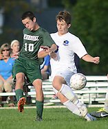 SSOUTH09<br /> Pennridge's Cameron Sheva #10 and Central Bucks South's Colin Green collide as they chase a loose ball in the second half Thursday October 8, 2015 at Central Bucks South in Warrington, Pennsylvania. (William Thomas Cain/For The Inquirer)
