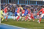 Gillingham forward, and goalscorer, Dominic Samuel in action in a crowded six yard box during the Sky Bet League 1 match between Gillingham and Crewe Alexandra at the MEMS Priestfield Stadium, Gillingham, England on 12 March 2016. Photo by David Charbit.