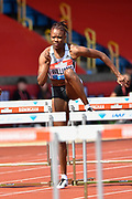 Danielle Williams (JAM) on her way to winning her heat of the women's 100m hurdles in a time of 12.53 during the Birmingham Grand Prix, Sunday, Aug 18, 2019, in Birmingham, United Kingdom. (Steve Flynn/Image of Sport via AP)