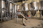 Fayetteville, Arkansas:  Ben Mills of Fossil Cove Brewery in Fayetteville, AR shot for Fayetteville A&P and Sells Agency.<br /> <br /> Photography by Wesley Hitt