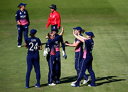 Natalie Sciver of England Women celebrates with Alex Hartley of England Women after taking a catch off her bowling - Mandatory by-line: Robbie Stephenson/JMP - 05/07/2017 - CRICKET - County Ground - Bristol, United Kingdom - England Women v South Africa Women - ICC Women's World Cup Group Stage