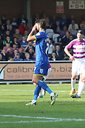 George Francomb of AFC Wimbledon puts his penalty too near Max Crocombe and holds his face as he sees it saved during the Sky Bet League 2 match between AFC Wimbledon and Barnet at the Cherry Red Records Stadium, Kingston, England on 3 October 2015. Photo by Stuart Butcher.
