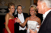 Lady Alexandra Spencer-Churchill, David Furnish and the Duchess of Marlborough, Ball at Blenheim Palace in aid of the Red Cross, Woodstock, 26 June 2004. SUPPLIED FOR ONE-TIME USE ONLY-DO NOT ARCHIVE. © Copyright Photograph by Dafydd Jones 66 Stockwell Park Rd. London SW9 0DA Tel 020 7733 0108 www.dafjones.com