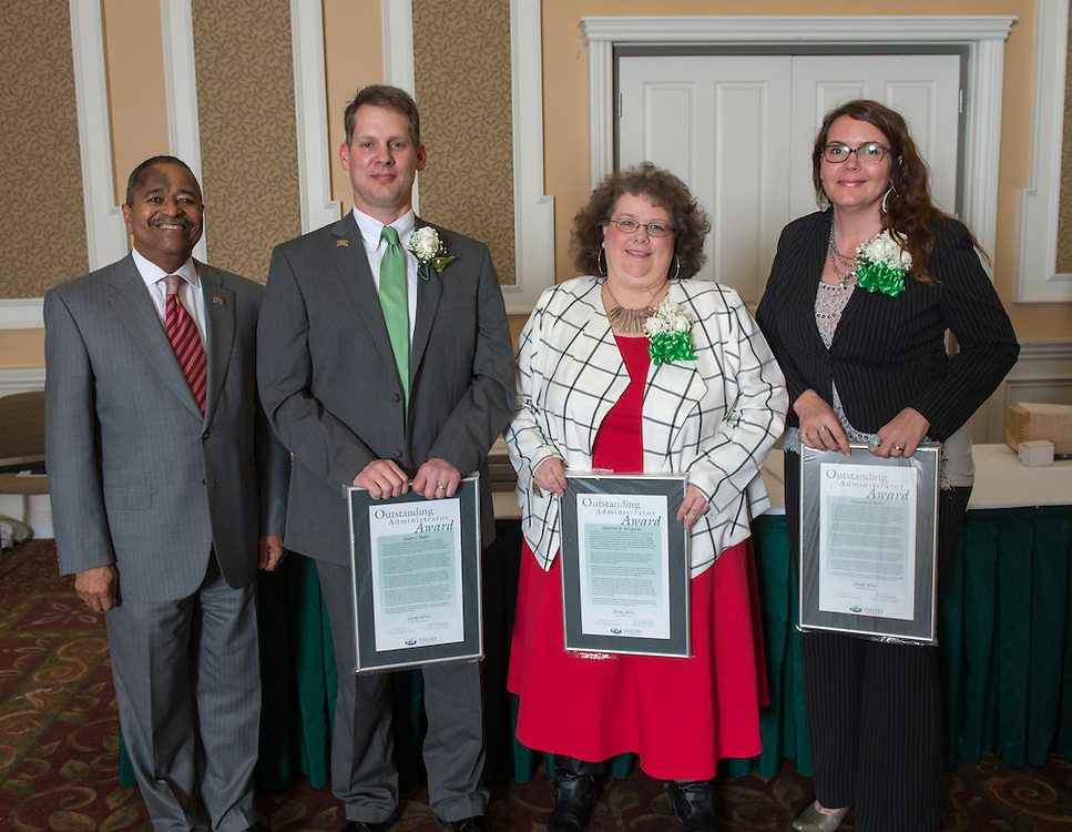 President McDavis (Left) with 2016 Outstanding Administrator Award winners (Right to Left)  Shawna Bolin,  Heather Krugman, and Adam Riehl.