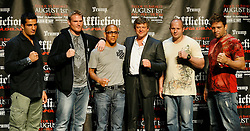 """June 3, 2009; New York, NY, USA; (l to r) Gergard Mousasi, Josh Barnett, Affliction's Tom Atencio, M-1's Vadim Finkelstein, Fedor Emelianenko, and Renato Sobral pose at the press conference announcing Affliction M-1 Global's """"Trilogy"""".  The fights will take place on August 1, 2009 at the Honda Center in Anaheim, CA."""