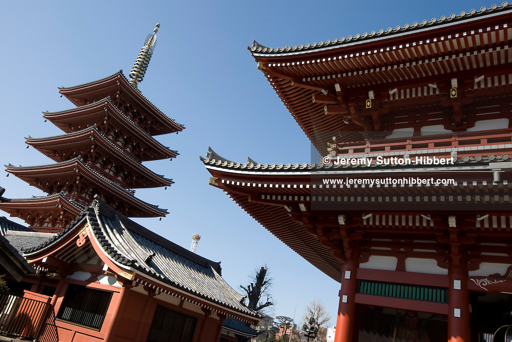 Architecture of Senso-ji temple and pagoda, in the Asakusa district, Tokyo, Japan, Monday 3rd March 2009.
