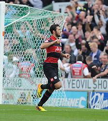 Queen Park Rangers' Charlie Austin celebrates after scoring a penalty. - Photo mandatory by-line: Alex James/JMP - Tel: Mobile: 07966 386802 21/09/2013 - SPORT - FOOTBALL - Huish Park - Yeovil - Yeovil Town V Queens Park Rangers - Sky Bet Championship