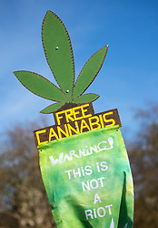 © Licensed to London News Pictures. 20/04/2016. London, UK. A pro-cannabis banner at the '4/20' demonstration in Hyde Park. Demonstrators celebrate on 20 April for the legalisation of Cannabis. Photo credit : Tom Nicholson/LNP