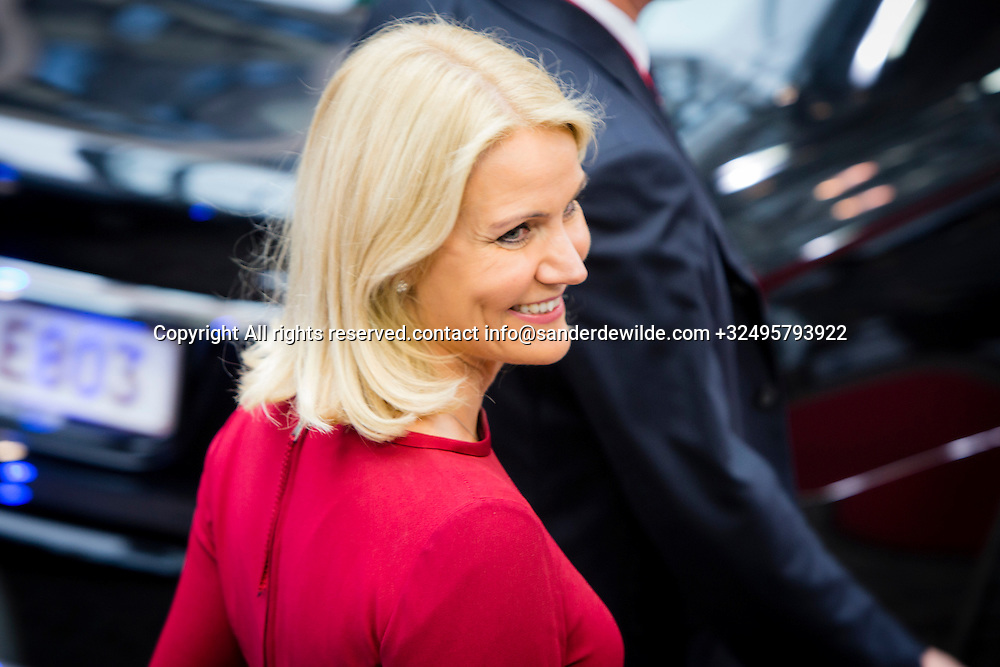 Belgium Brussels 30 August 2014. Helle Thorning-Schmidt, Prime Minister of Denmark, arrives at the Special EU Summit.