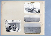 photo album page with images of the sea and people on a passenger ship