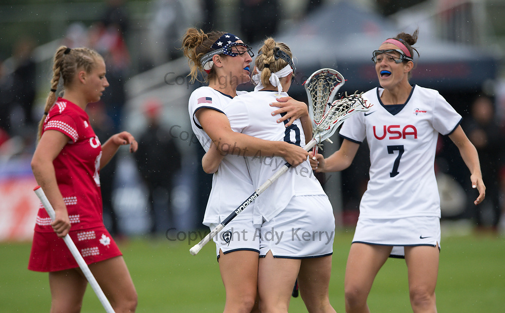 USA's Taylor Cummings  celebrates with scorwer Laura Zimmerman at the 2017 FIL Rathbones Women's Lacrosse World Cup, at Surrey Sports Park, Guildford, Surrey, UK, 22nd July 2017.
