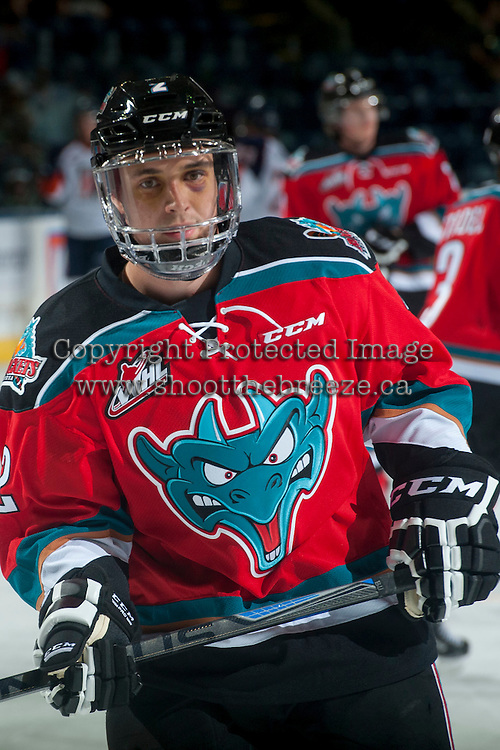 KELOWNA, CANADA - SEPTEMBER 20: Jesse Lees #2 of Kelowna Rockets skates during warm up against the Kamloops Blazers on September 20, 2014 at Prospera Place in Kelowna, British Columbia, Canada.   (Photo by Marissa Baecker/Shoot the Breeze)  *** Local Caption *** Jesse Lees;