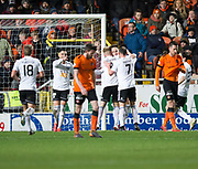 30th November 2018, Tannadice Park, Dundee, Scotland; Scottish Championship football, Dundee United versus Ayr United; Lawrence Shankland of Ayr United is congratulated after scoring for 2-0 by Michael Moffat and Robbie Crawford